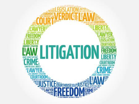 Litigation word cloud concept background Illustration