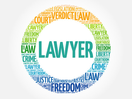 Lawyer word cloud concept background