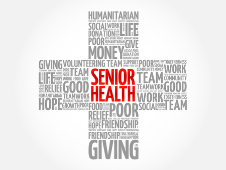 Senior health word cloud collage, cross concept