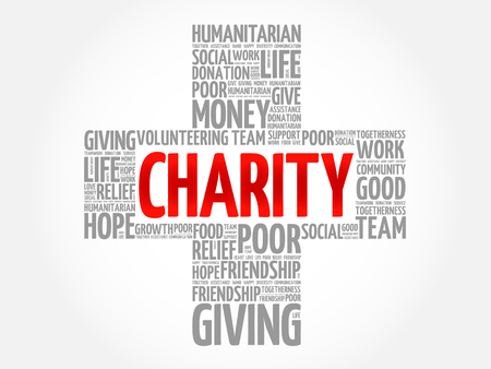 Charity word cloud collage, cross concept