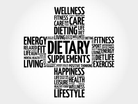 Dietary Supplements word cloud, health cross concept background Çizim