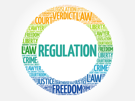 Regulation word cloud concept bacground Illustration