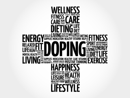 Doping word cloud, health cross concept background Illustration