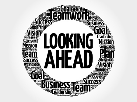 Looking Ahead word cloud collage, business concept background Vettoriali