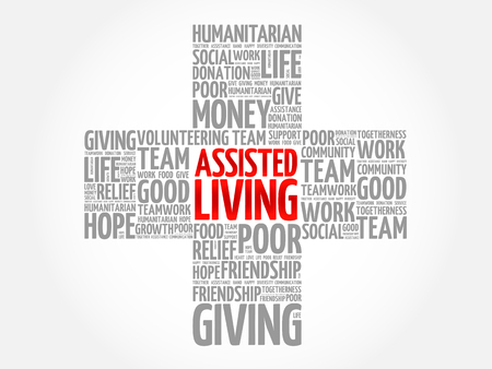 Assisted Living word cloud collage, cross concept