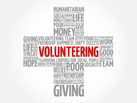 Volunteering word cloud collage, cross concept