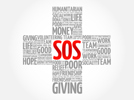 SOS word cloud collage, cross concept Illustration