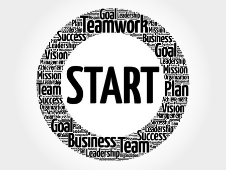 Start word cloud collage, business concept background