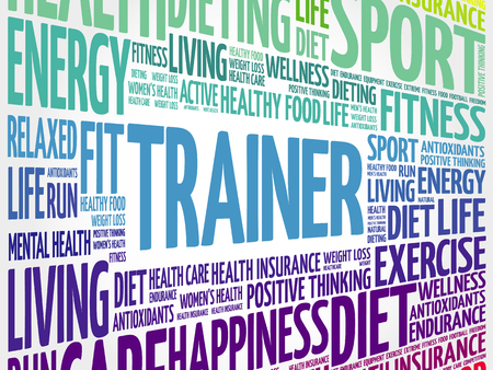 Trainer word cloud background, health concept background