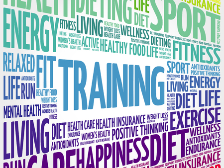 TRAINING word cloud collage, fitness, sport, health concept Illustration