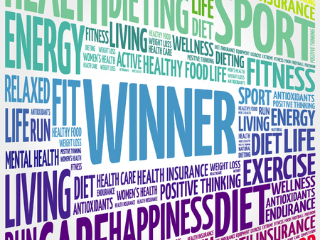 Winner word cloud collage background, health concept