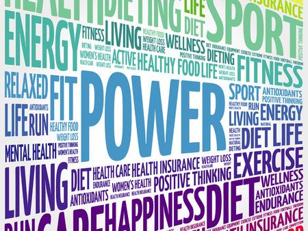 POWER word cloud, fitness, sport, health concept Illustration
