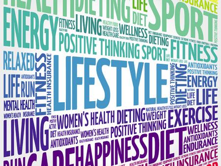 Nuage de mot LIFESTYLE, fitness, sport, concept de santé