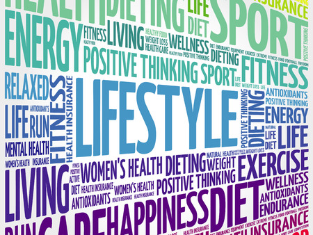 LIFESTYLE word cloud, fitness, sport, health concept Illustration