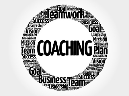 Coaching circle word cloud, business concept