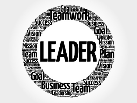 Leader circle word cloud, business concept