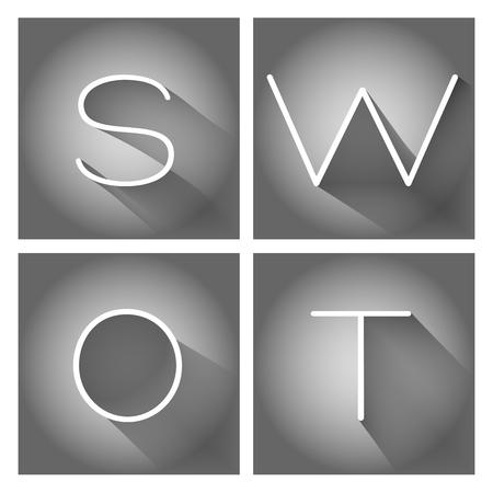 SWOT analysis business strategy management process Illustration