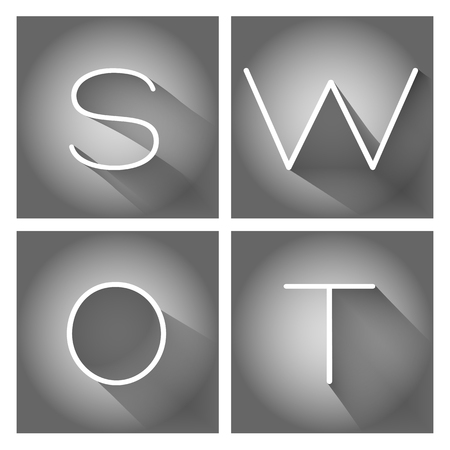 SWOT analysis business strategy management process 向量圖像