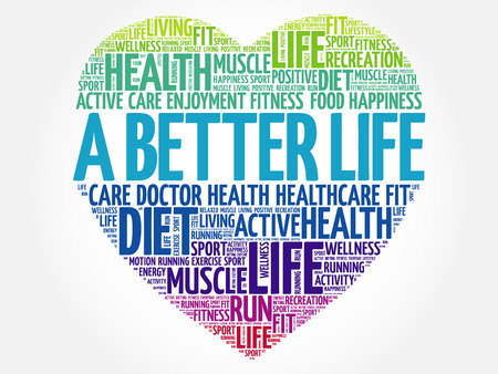 A Better Life heart word cloud, fitness, sport, health concept Vector Illustration