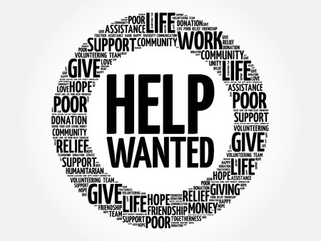 Help Wanted word cloud collage, concept background