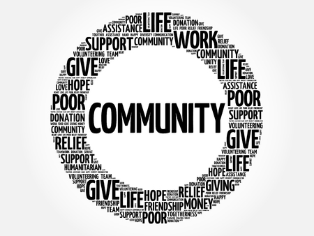 Community word cloud collage, concept background