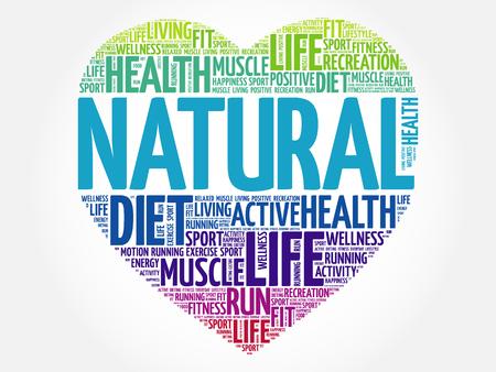 Nuage de mot coeur NATUREL, fitness, sport, concept de santé