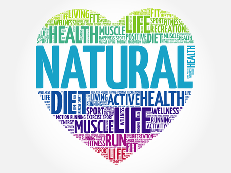 NATURAL heart word cloud, fitness, sport, health concept Illustration