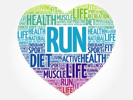RUN heart word cloud, fitness, sport, health concept Illustration