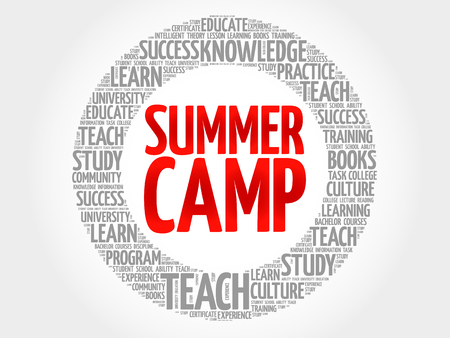 Summer Camp word cloud collage, education concept background
