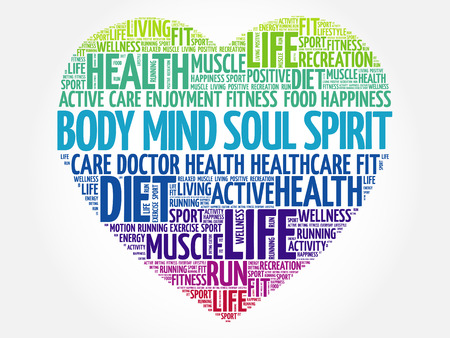 Body Mind Soul Spirit heart word cloud, fitness, sport, health concept