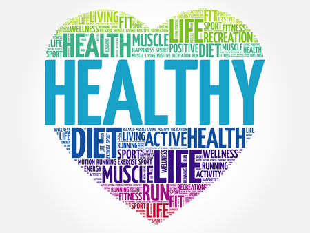 HEALTHY heart word cloud, fitness, sport, health concept