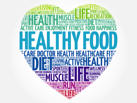 Healthy Food heart word cloud, fitness, sport, health concept 矢量图像