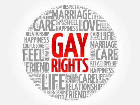 Concepto de collage de nube de word de círculo de derechos homosexuales