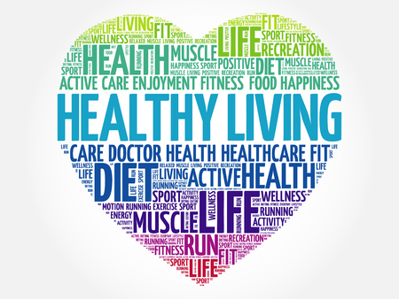 Healthy Living heart word cloud, fitness, sport, health concept Illustration