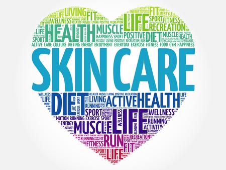 Skin care heart word cloud, fitness, sport, health concept Illustration