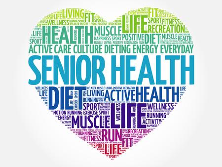 Senior health heart word cloud, fitness, sport, health concept