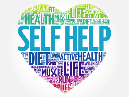 Self Help heart word cloud, fitness, sport, health concept Illustration