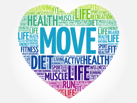 MOVE heart word cloud, fitness, sport, health concept 矢量图像
