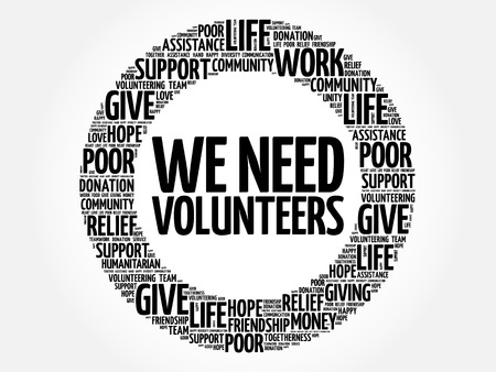 WE NEED VOLUNTEERS word cloud collage, concept background Illusztráció
