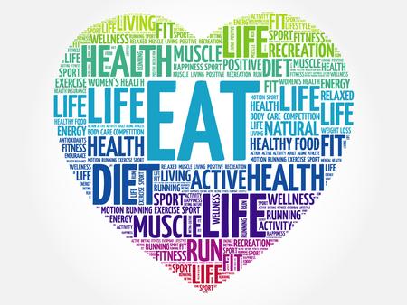 EAT heart word cloud, fitness, sport, health concept