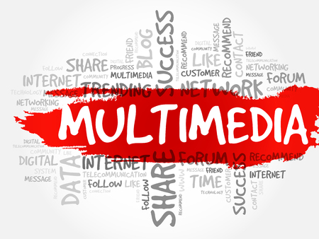 Multimedia word cloud, business concept Illustration