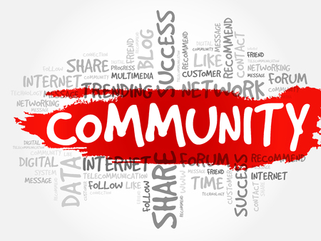 Community word cloud collage, business concept background