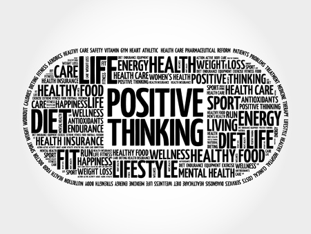 Positive thinking medical pill word cloud, health concept background Reklamní fotografie - 104568400