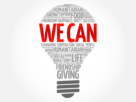We Can bulb word cloud collage concept