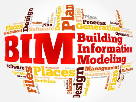 BIM - Building Information Modeling word cloud, business concept
