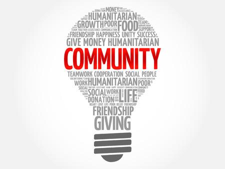 Community bulb word cloud collage concept Illustration