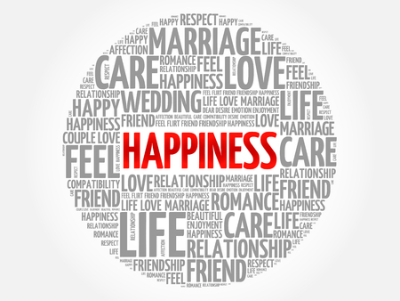 Happiness circle word cloud collage concept Illustration