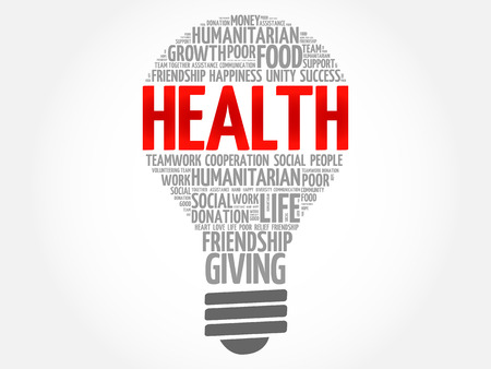 Health bulb word cloud collage concept