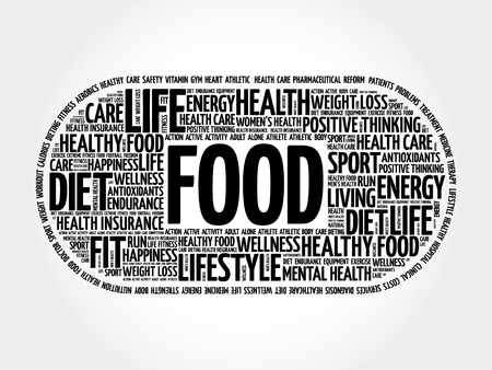 FOOD word cloud collage, fitness, sport, health concept