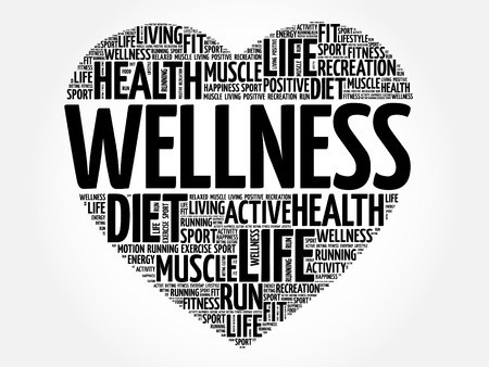 WELLNESS heart word cloud collage, fitness, sport, health concept
